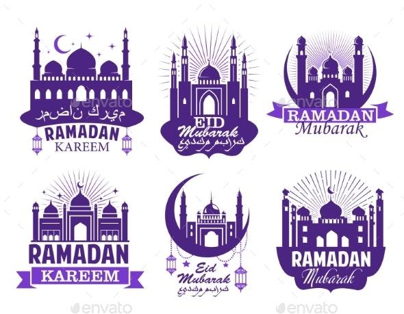 Ramadan Kareem Muslim Religion Festival Symbol Set - Religion Conceptual