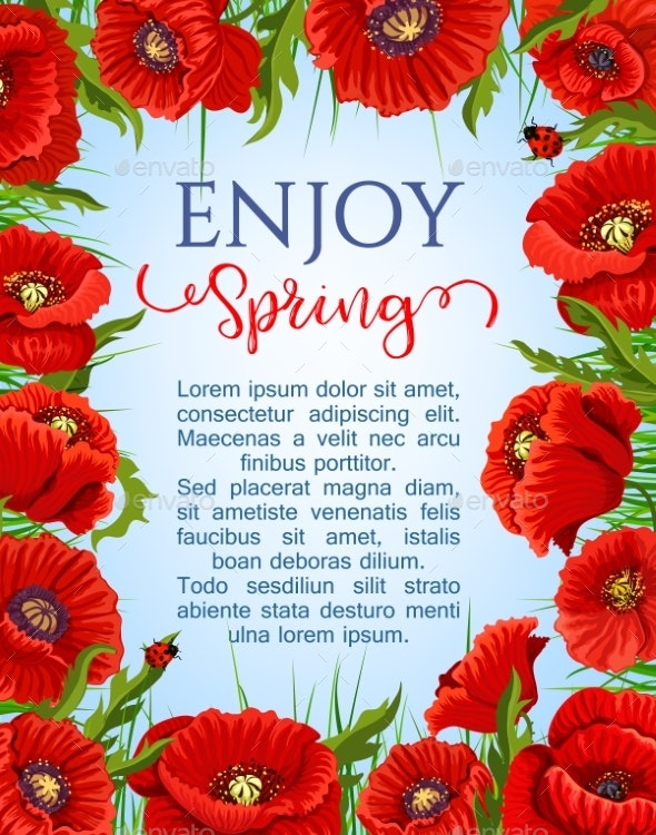 Vector Poster of Spring Poppy Flowers Wreath - Flowers & Plants Nature