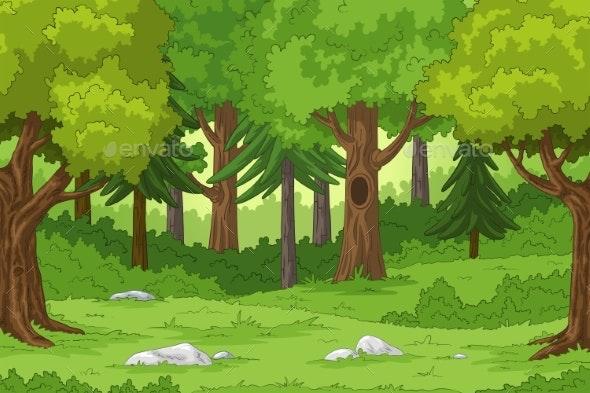 Cartoon Forest Landscape by GabiWolf | GraphicRiver