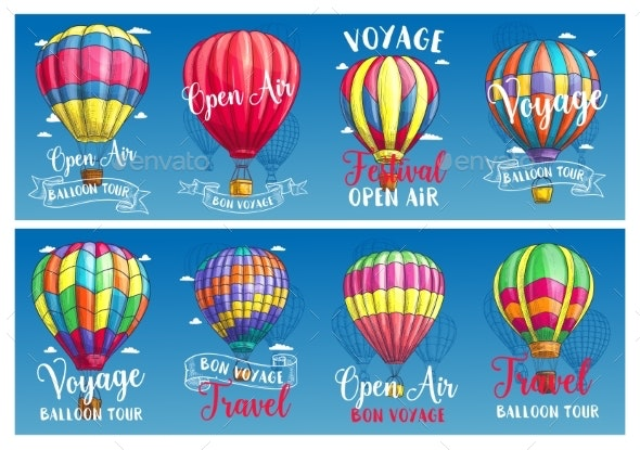 Hot Air Balloon Sketch Banner for Travel Design - Man-made Objects Objects
