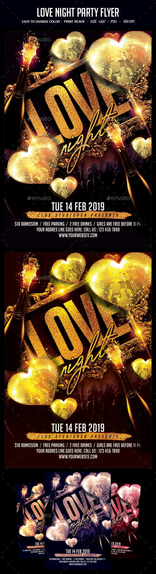 Love Night Party Flyer - Clubs & Parties Events