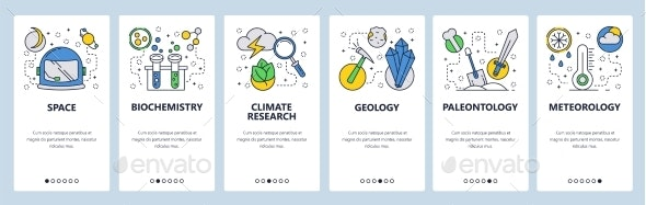 Website Onboarding Screens Science and Space - Web Elements Vectors