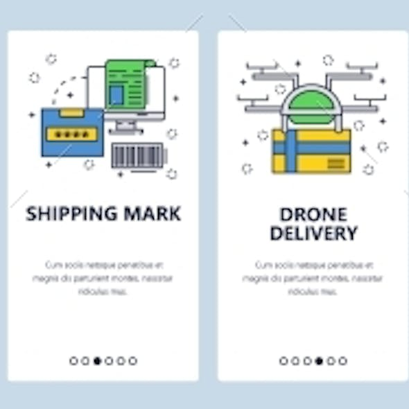 Website Onboarding Screens Delivery and Shipping