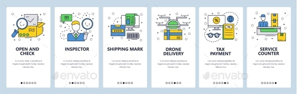 Website Onboarding Screens Delivery and Shipping - Web Elements Vectors