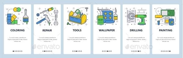 Website Onboarding Screens Hardware Tools - Web Elements Vectors