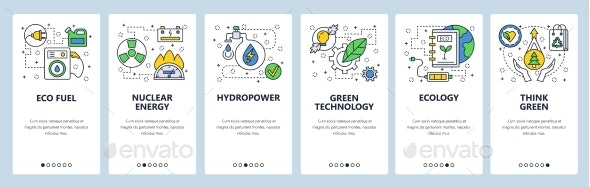 Website Onboarding Screens Ecology Green Thinking - Web Elements Vectors