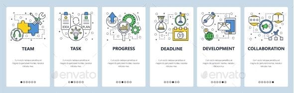 Website Onboarding Screens Task Teamwork - Web Elements Vectors