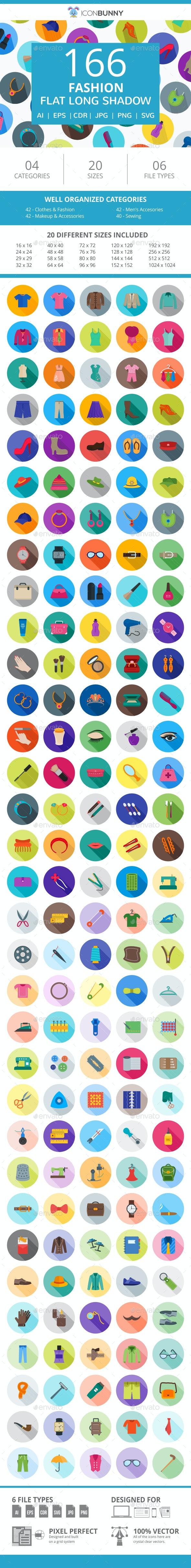 166 Fashion Flat Long Shadow Icons - Icons