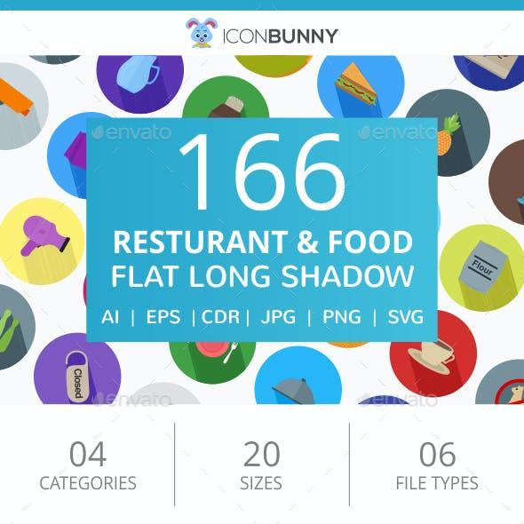 166 Restaurant & Food Flat Long Shadow Icons