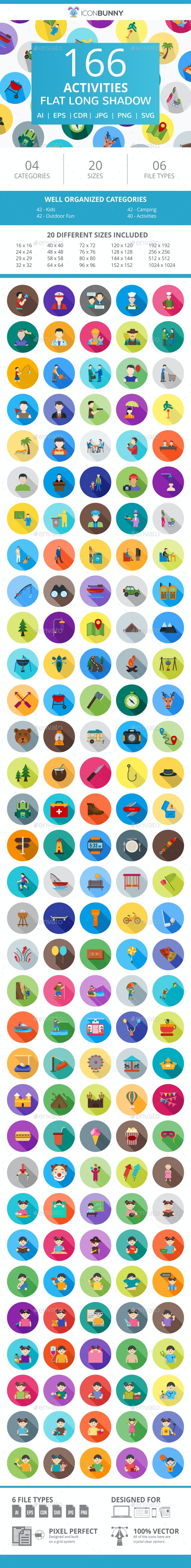 166 Activities Flat Long Shadow Icons - Icons