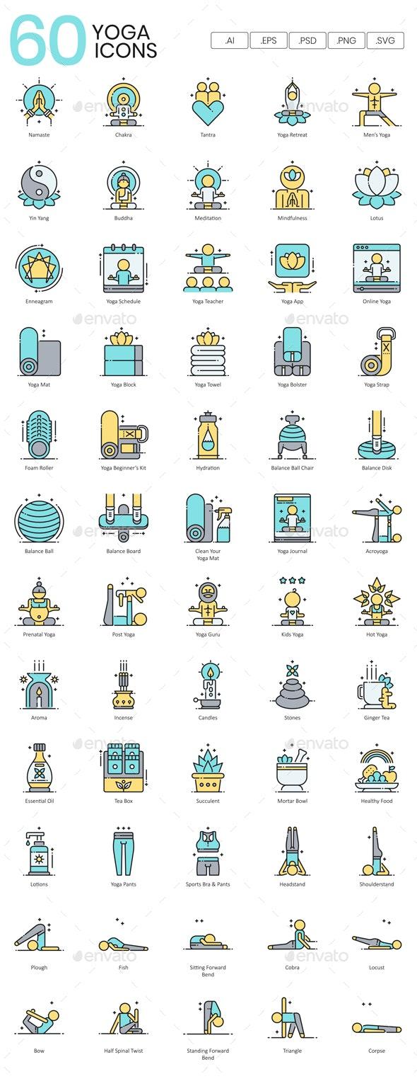 Yoga Icons - Aqua - Miscellaneous Characters
