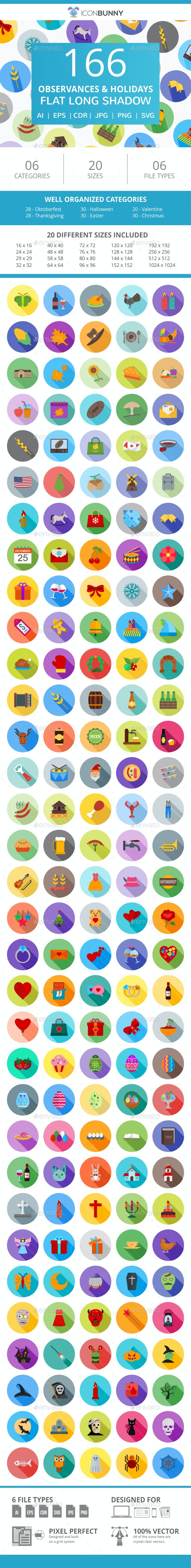 166 Observances & Holiday Flat Long Shadow Icons - Icons