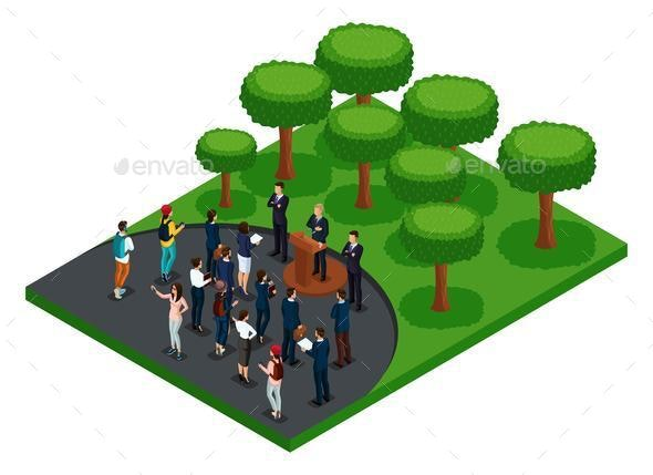Isometric Meeting the President with Voters - People Characters