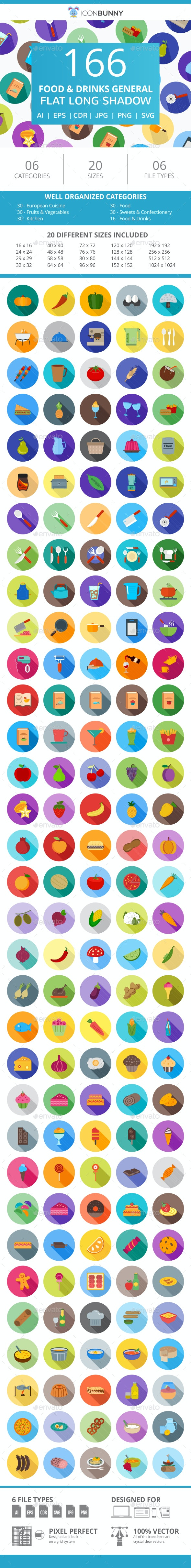 166 Food & Drinks General Flat Long Shadow Icons - Icons