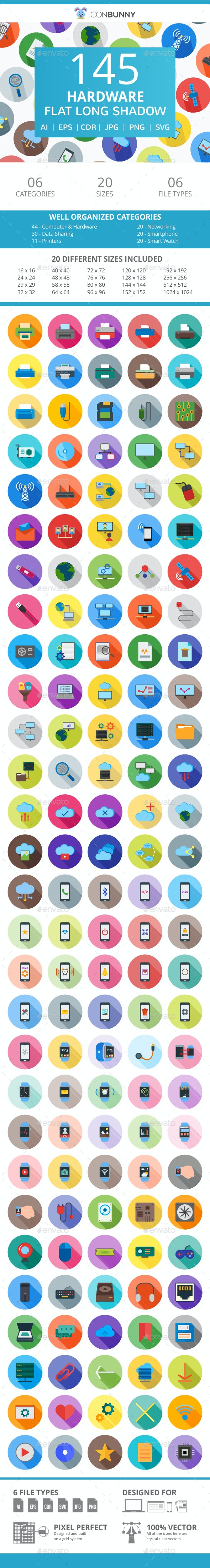 145 Hardware Flat Long Shadow Icons - Icons