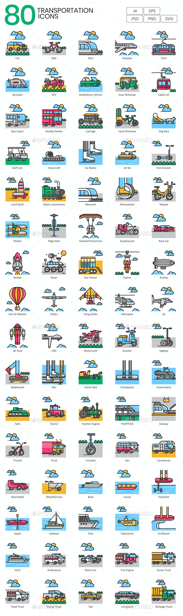 Transportation Icons - Aesthetic - Man-made objects Objects