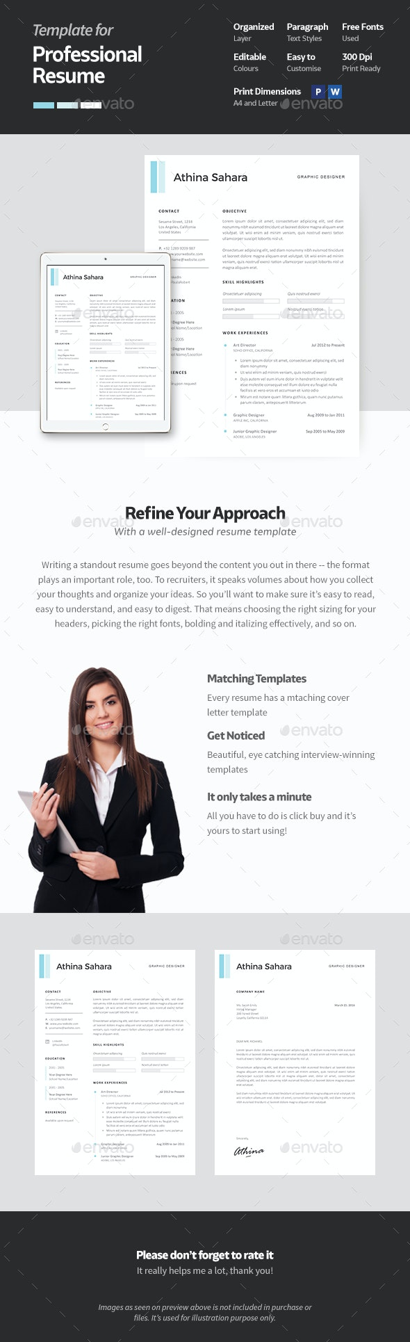 Clean and Professional Resume Template - Resumes Stationery