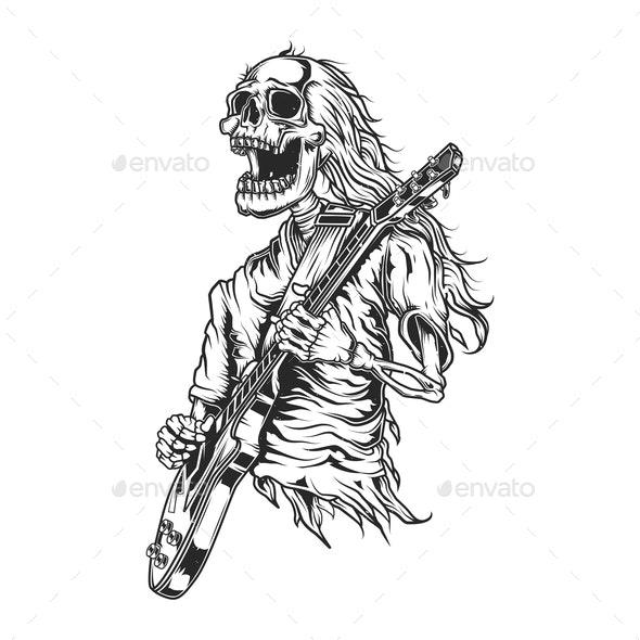 Skeleton Playing Guitar - People Characters