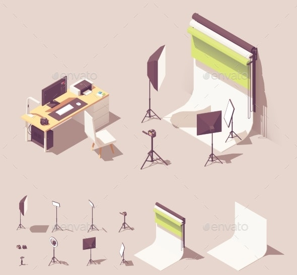 Vector Isometric Photo Studio Equipment - Buildings Objects