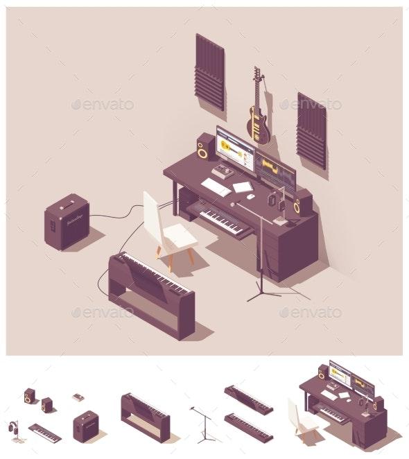 Vector Isometric Home Recording Studio Equipment - Buildings Objects