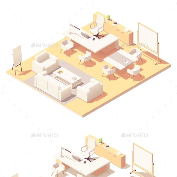 Vector Isometric Executive Office Interior