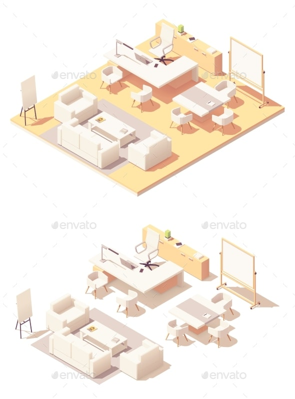 Vector Isometric Executive Office Interior - Buildings Objects