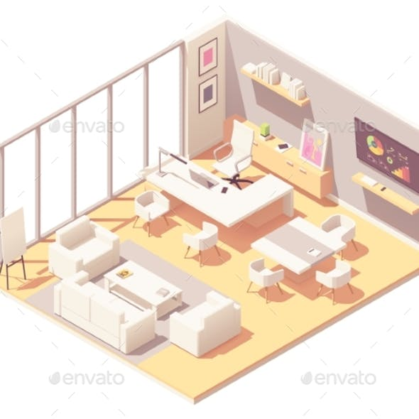 Vector Isometric CEO Office Interior