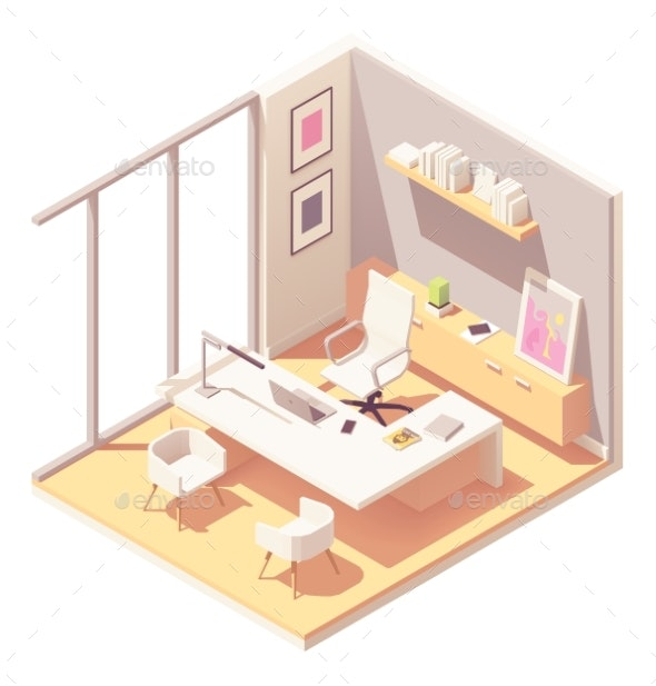 Vector Isometric CEO Office Interior - Buildings Objects