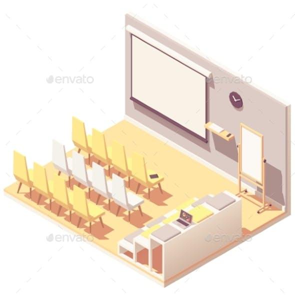 Vector Isometric Office Presentation Room Interior