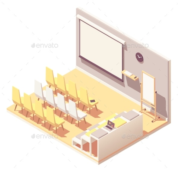 Vector Isometric Office Presentation Room Interior - Buildings Objects