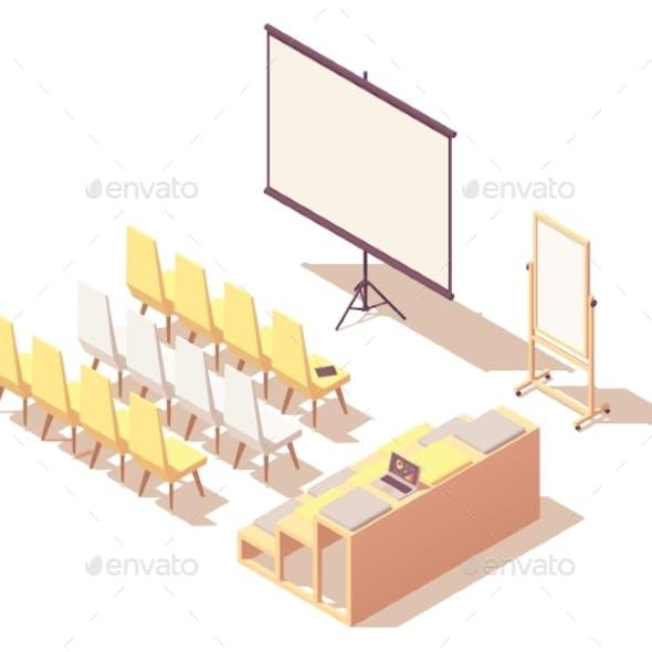 Vector Isometric Presentation Room Interior