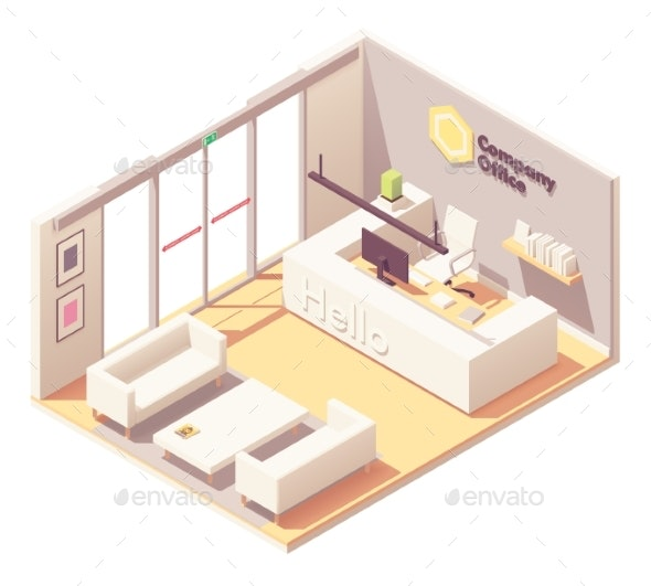 Vector Isometric Office Reception Desk Interior - Buildings Objects