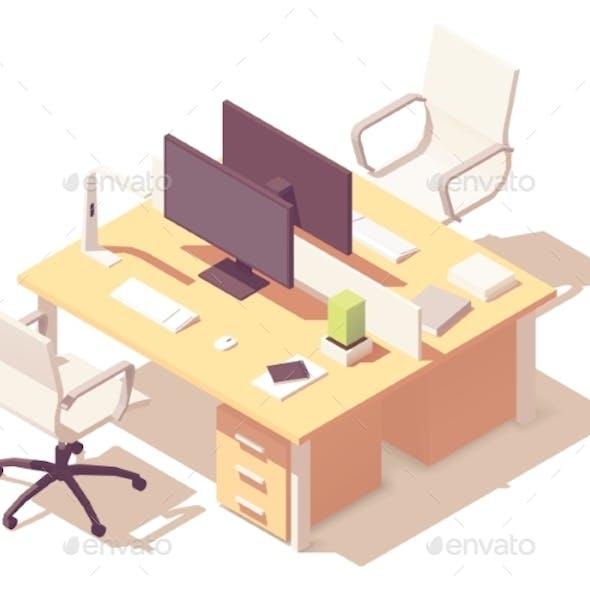 Vector Isometric Office Desk