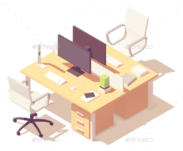 Vector Isometric Office Desk - Buildings Objects