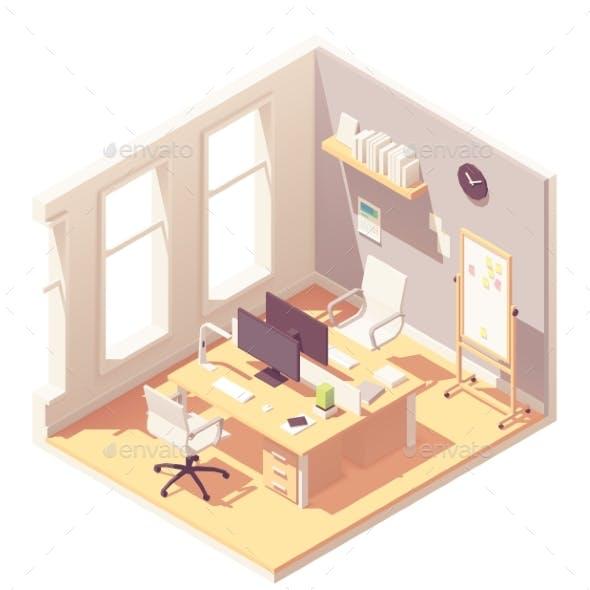 Vector Isometric Office Room Interior
