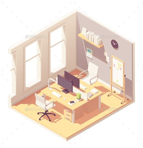 Vector Isometric Office Room Interior - Buildings Objects