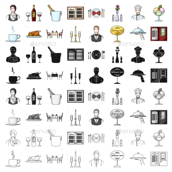 Restaurant Set Icons in Cartoon Style - Miscellaneous Vectors
