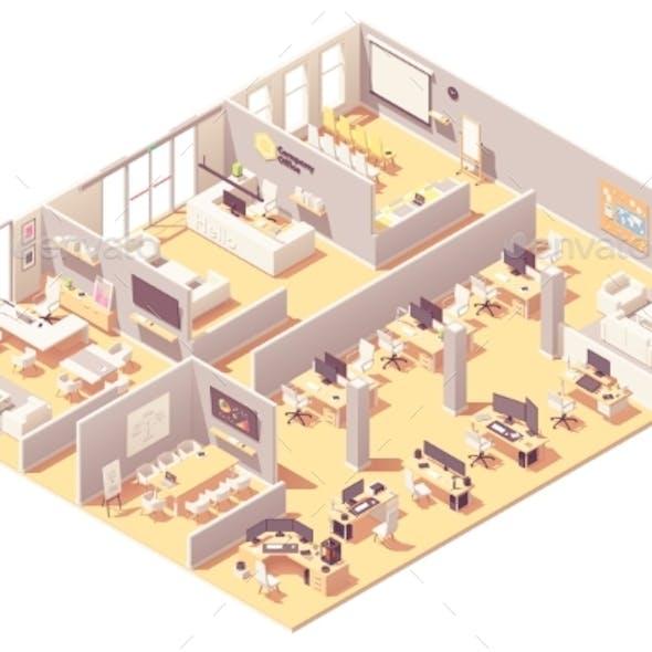 Vector Isometric Corporate Office Interior