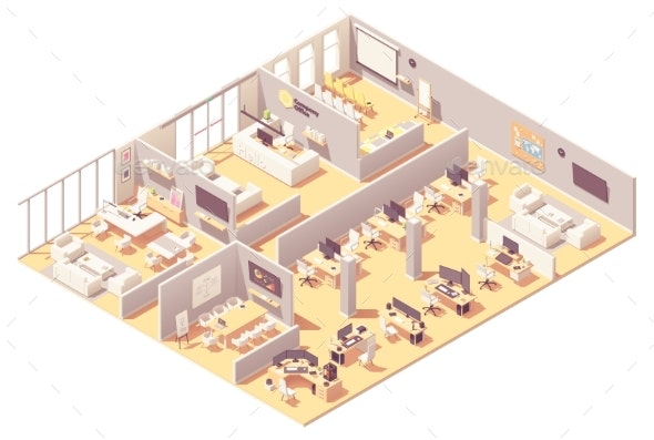 Vector Isometric Corporate Office Interior - Buildings Objects