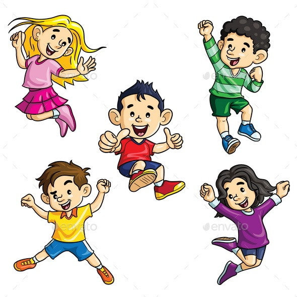 Jumping Kids Cartoon - People Characters