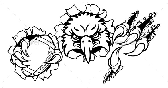 Eagle Football Cartoon Mascot Ripping Background - Sports/Activity Conceptual