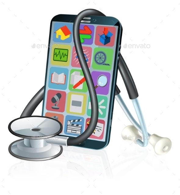 Mobile Phone Medical Health App Stethoscope Design - Health/Medicine Conceptual
