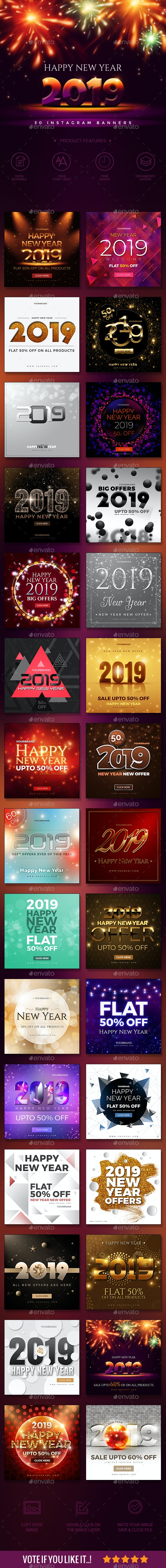 Instagram New Year Banners - Social Media Web Elements