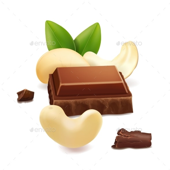 Chocolate and Cashew Nut Realistic Vector - Food Objects