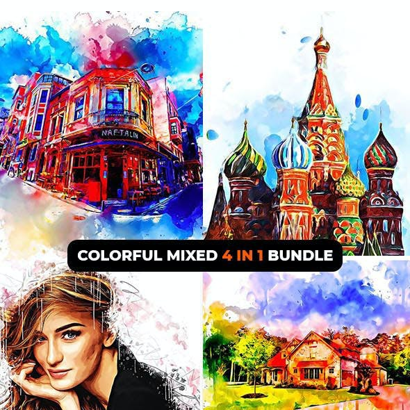 Colorful Mixed  4-in-1 Photoshop Action Bundle