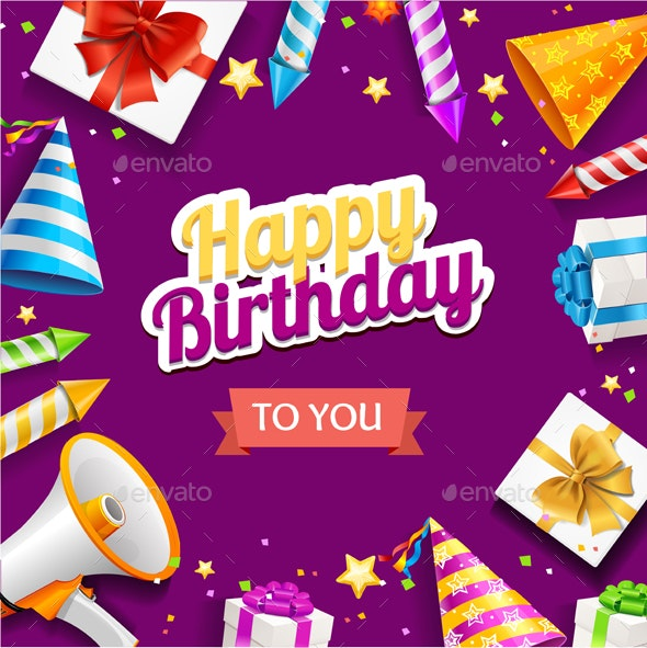 Realistic Detailed Happy Birthday Banner Card - Birthdays Seasons/Holidays