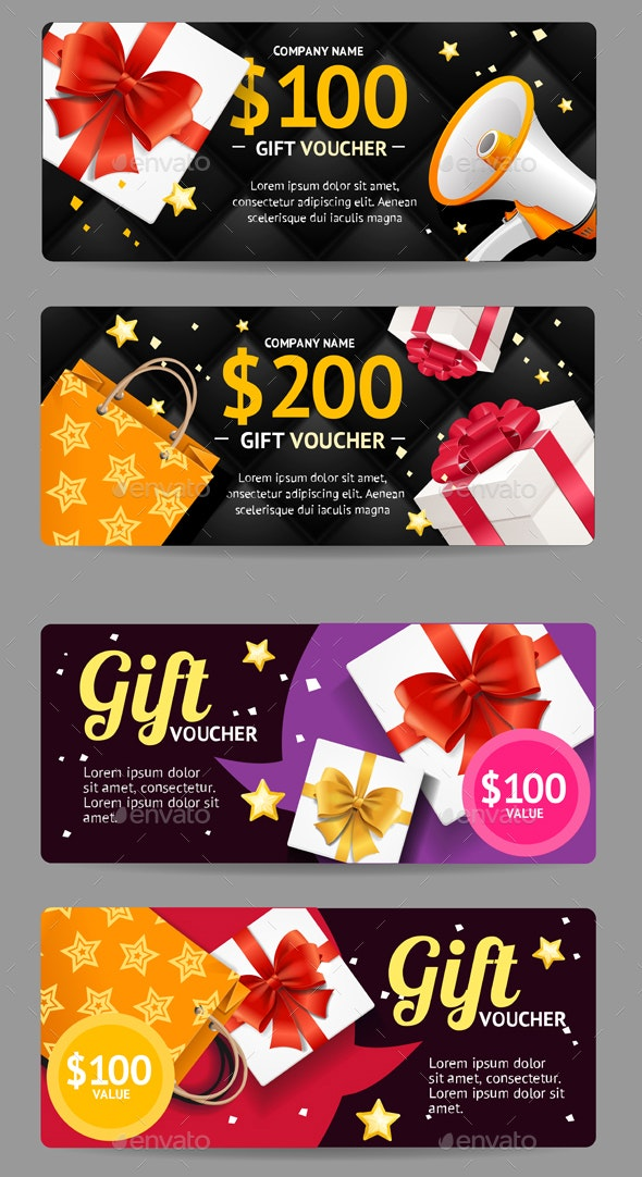 Gift Banner Horizontal Set with Realistic Elements - Retail Commercial / Shopping