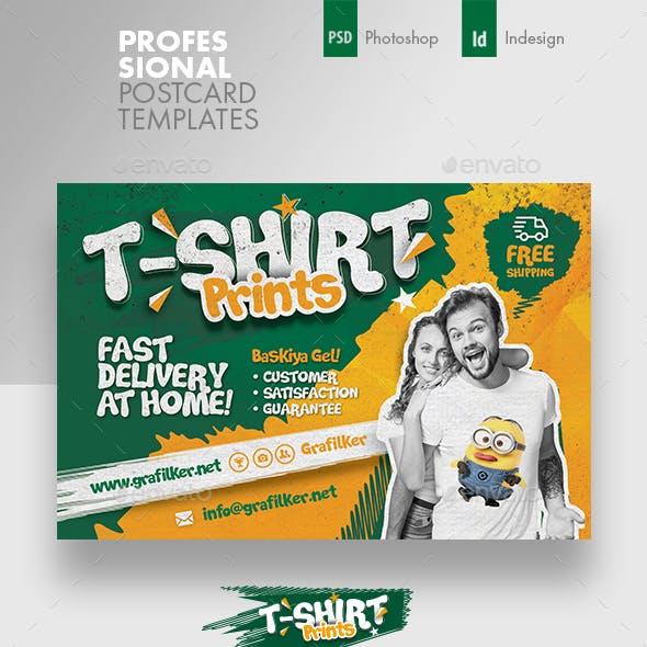 T-Shirt Print Postcard Templates