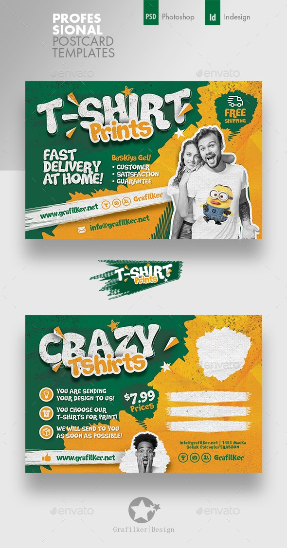 T-Shirt Print Postcard Templates - Cards & Invites Print Templates