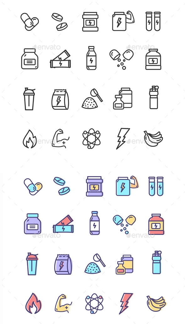 Nutrition Signs Color Thin Line Icon Set - Man-made Objects Objects